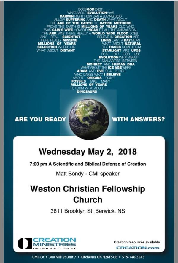 Creation Ministries at Weston Fellowship